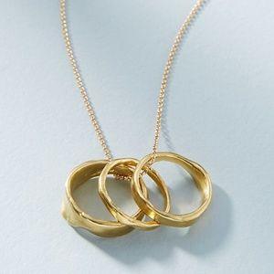Anthropologie Modern Metalwork Necklace + Ring Set
